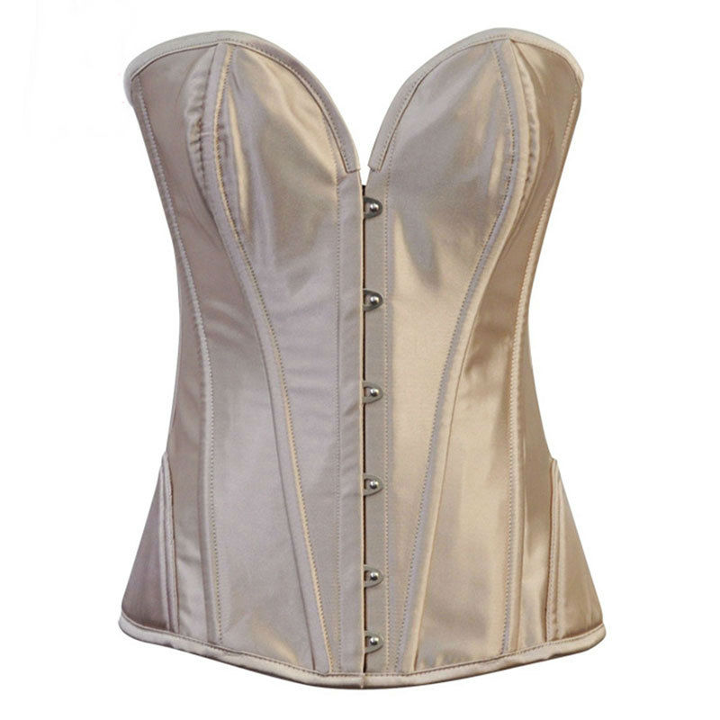 Beige Satin Corselet Overbust Steel Boned   Corsets   And   Bustiers   Gothic Korsett For Women Sexy   Corset   Plus Size Burlesque Costumes