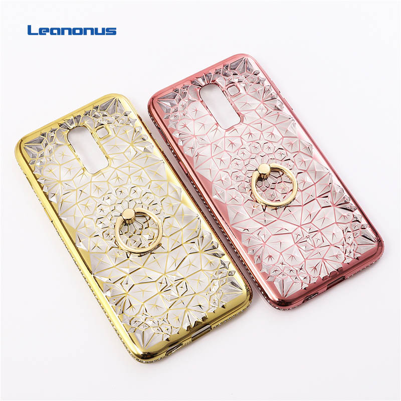 Case J8 Diamond Cover For Soft-Silicone Samsung J4 Galaxy J4/J6/J8 Plating Ring-Stand-Holder