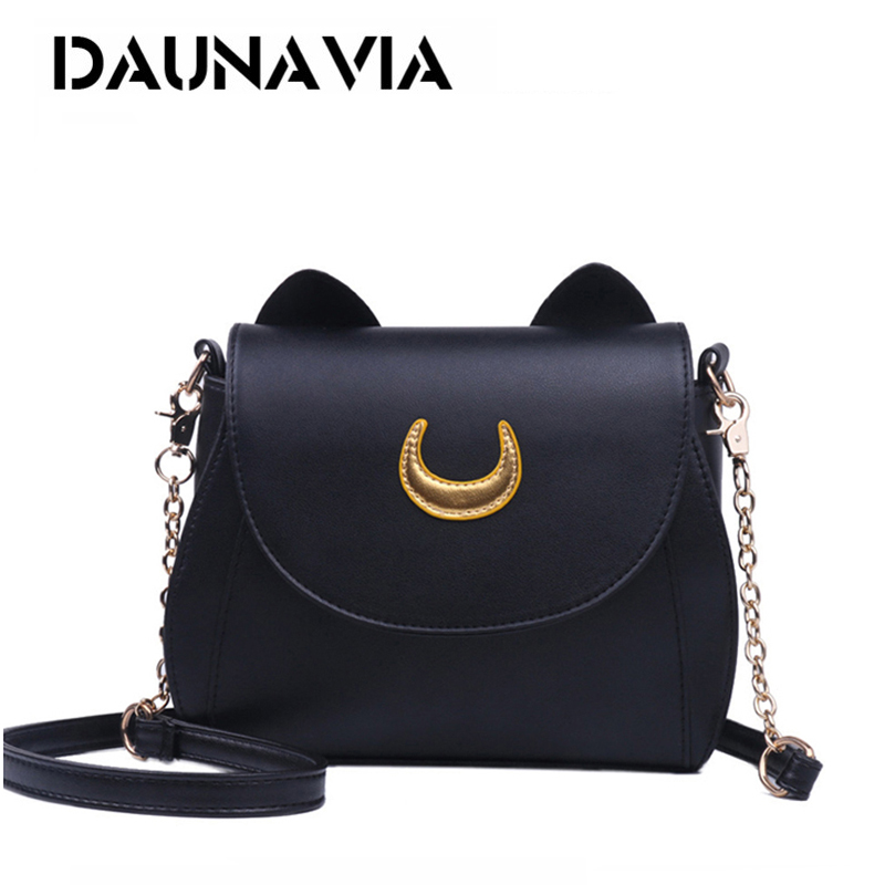 DAUNAVIA Samantha Vega 20Y Limited Sailor Moon Bag Ladies Handbag Black White Cat Luna Moon Women Messenger Crossbody Bag