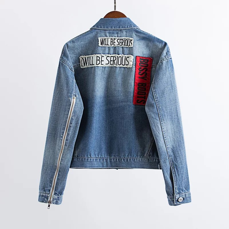 22a190abece 2017 ZA Denim Jacket Women Letter NO IDEA Applique Embroidered Denim Jacket  For women Top Clothing F9022-in Basic Jackets from Women s Clothing on ...