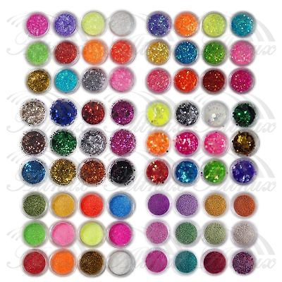 72 Colours UV Gel Acrylic Dust Glitter Powder Nail Art Tips Decoration Set Tool 3D Tips