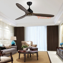 Nordic Village Wooden Ceiling Fan Industrial Fans Decorative Home Restaurant with Remote Control