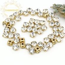 3mm 4mm 5mm 6mm 7mm 8mm White Diamond shape Glass Crystal rhinestones with gold claw Diy wedding dress accessories