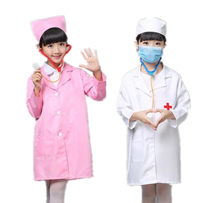 Children Kids Halloween Costume Cosplay Nurse Doctor Uniform Clothing Girls Boys Party Dress With Hat