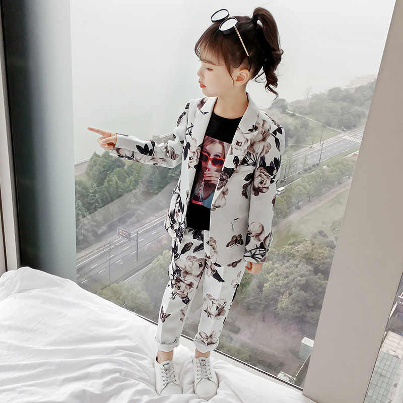 2pcs Kids Girls Flora Printed Suits 2019 Child Blazers Coats Sets Flora Long Pants Kids Girl Suit Teenager Girls Blazers Suits