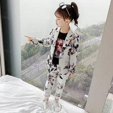 2pcs Kids Girls Flora Printed Suits 2019 Child Blazers Coats Sets Long Pants Girl Suit Teenager