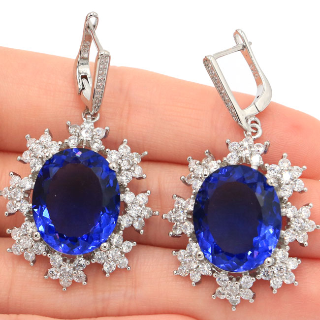 New Designed Big 18x15mm Iolite White Cubic Zirconia Wedding 925 Silver Earrings 44x26mm