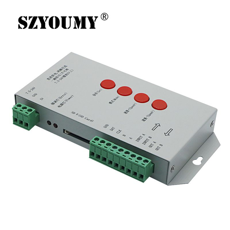 SZYOUMY T1000S SD Card WS2801 WS2811 WS2812B LPD6803 LED 2048 Pixels Controller DC5 24V T 1000S