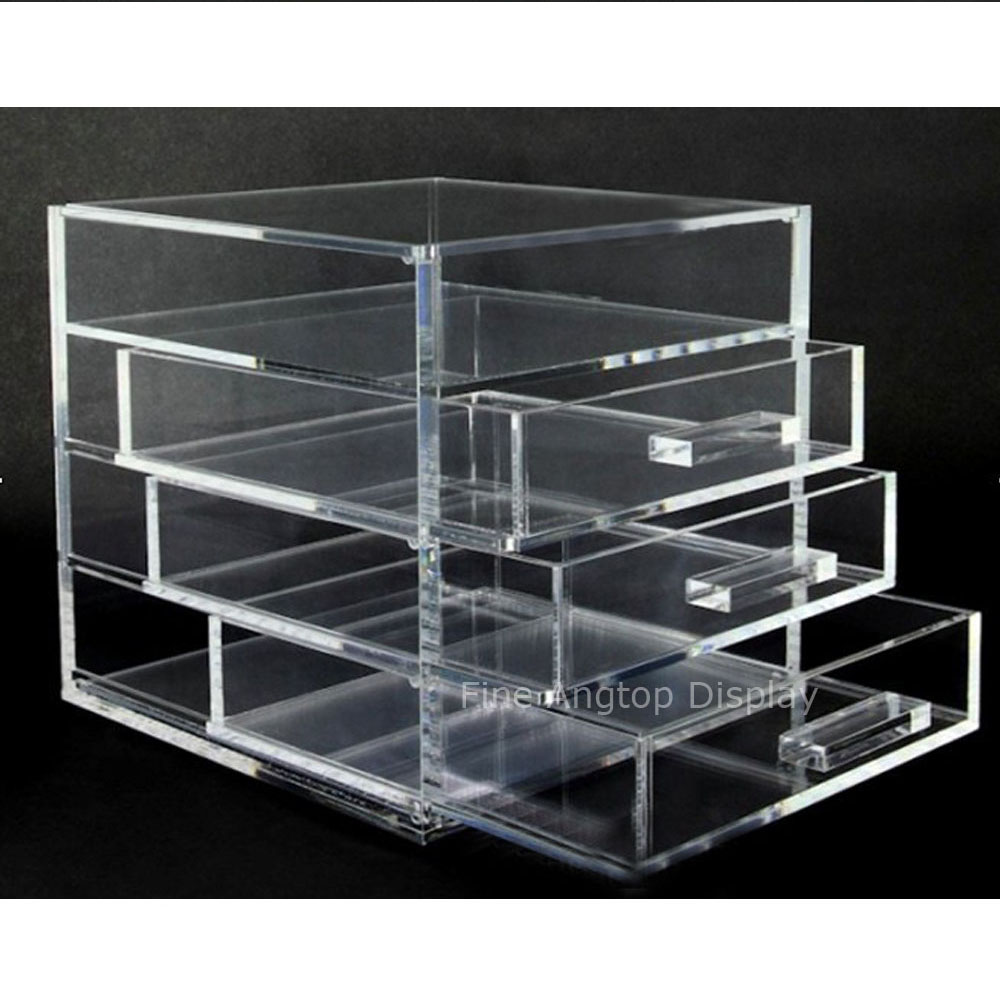 Stylish Acrylic Jewelry Storage Case Display 4 Drawers Space Saving Box acrylic cosmetics makeup and jewelry storage box 3 small drawers space saving