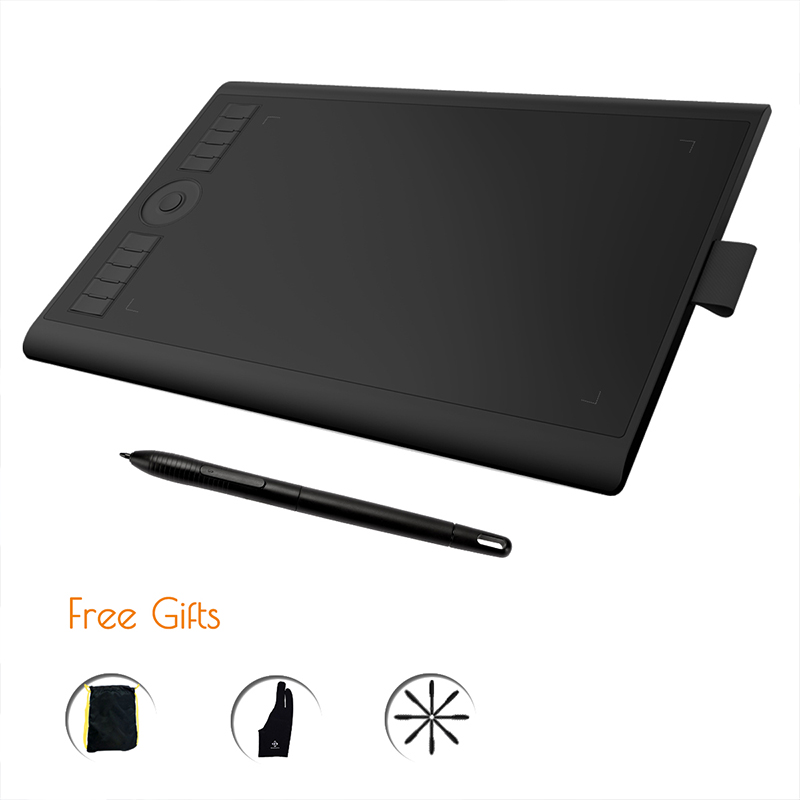 GAOMON M10K 2018 Version 8192 Pen Pressure Battery Free Pen Digital Graphic Tablet for Drawing Painting