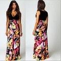 Vestidos 2015 Новый Повседневная Летнее Платье Женщины Sexy Глубокий V Цветочный Печати Повседневная Длиной Макси Платье Богемия Лоскутная Бальные Платья