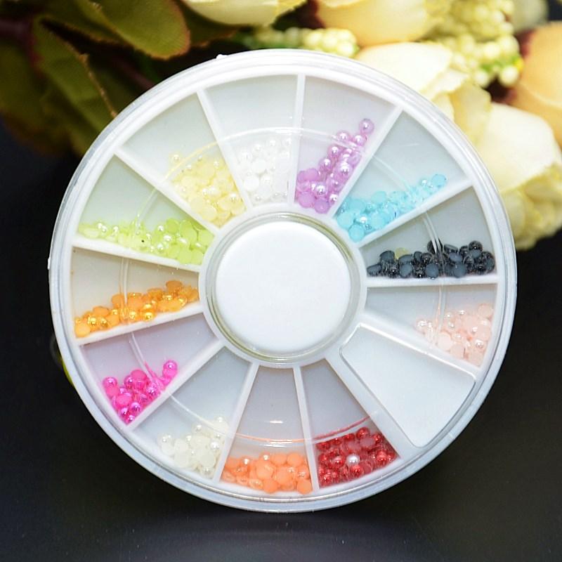 12 Colors Acrylic Nail Art Pearl Glitter 3D Tips