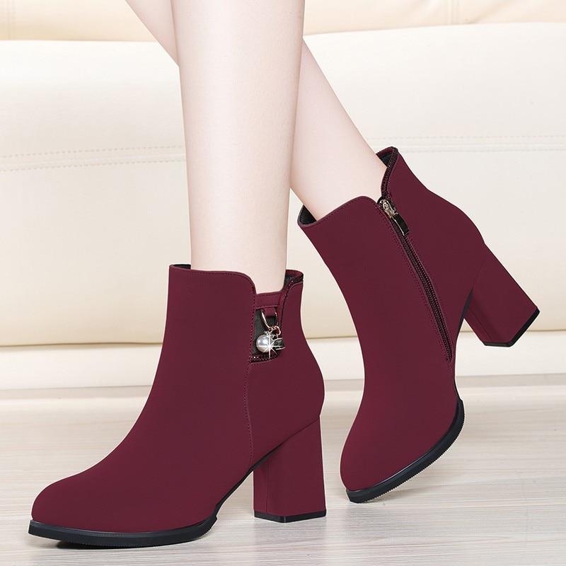 Stiefel Herbst Frauen Wildleder 2019 Top Heels Plattform 1 High Winter Stiefeletten Qualität Schuhe 2 a0217 Neue Kappe Kuh Runde Yg AwXO4q