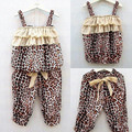 Vestidos Summer Children Leopard Top + Shorts Children Kids Girl\'s Leopard Sets Clothing Sets