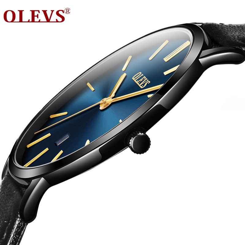 OLEVS Mens Watches Top Brand Luxury Business Quartz Watch Auto Date Ultra thin Watches Waterproof Simple Leather Wristwatch 2018 цена