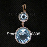 Винтаж круглые Твердые 18Kt из розового золота с бриллиантами кулон с голубым топазом ER003