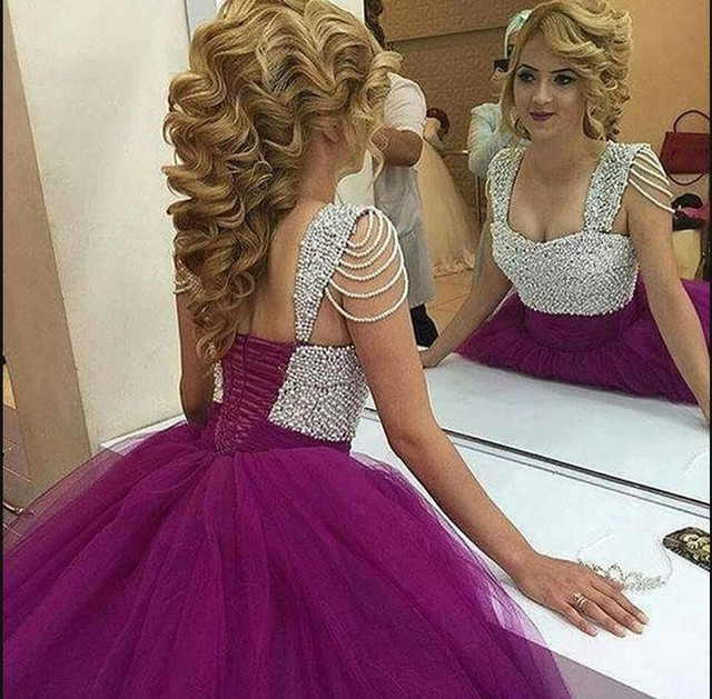 2016 latest style ball gown prom dress purple pearls princess ...
