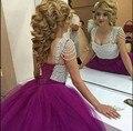 2016 mais recente estilo de vestido de baile prom dress roxo pérolas princesa querida vestidos de baile plissadas puffy prom vestidos