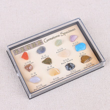 12pcs/set Gemstone Specimen Natural Crystal Ore Mineral English Teaching Materials Collection