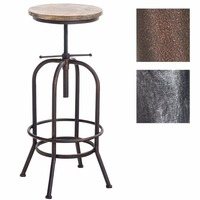 Bar stool in retro industrial look | Metal stool with solid wooden seat | Adjustable height chair | with Footrest | Bronze