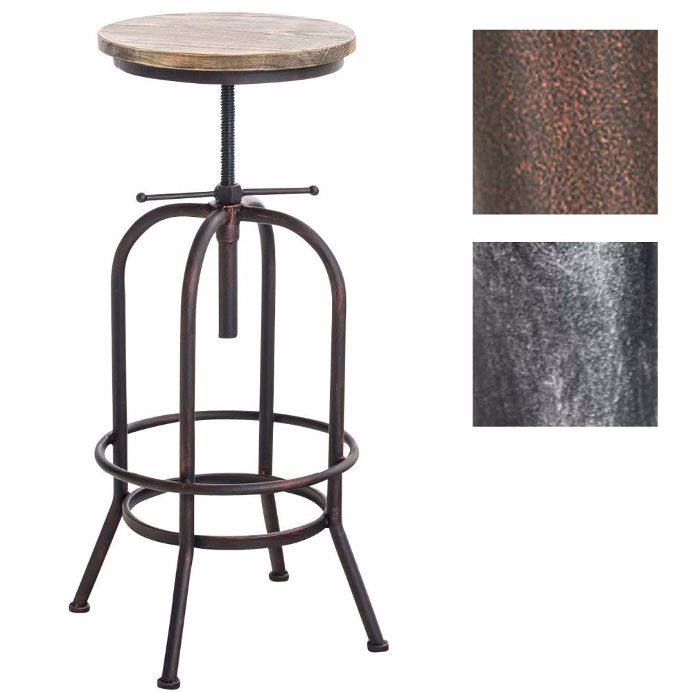 Bar stool in retro industrial look | Metal stool with solid wooden seat | Adjustable height chair | with Footrest | Bronze industrial furniture bar stool seat swiveling wood seat metal frame footrest function height adjustable bar chair