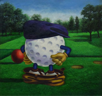 100% Hand Painted Modern Cartoon Oil Painting on Canvas Cartoon Golf Oil Painting Wall Art Painting Picture for Living Room