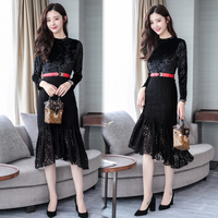 2018 autumn women's fashion long velvet lace trumpet dress female OL black Gold velvet stitching lace mermaid dresses