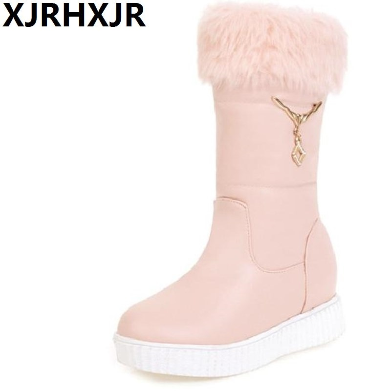 XJRHXJR Keep Warm Shoes Woman Platform Wedges Heel Snow Boots Ladies Plush Warm Round Toe Snow Boots Women Fur Boots Mid-calf 1 400 jinair 777 200er hogan korea kim aircraft model
