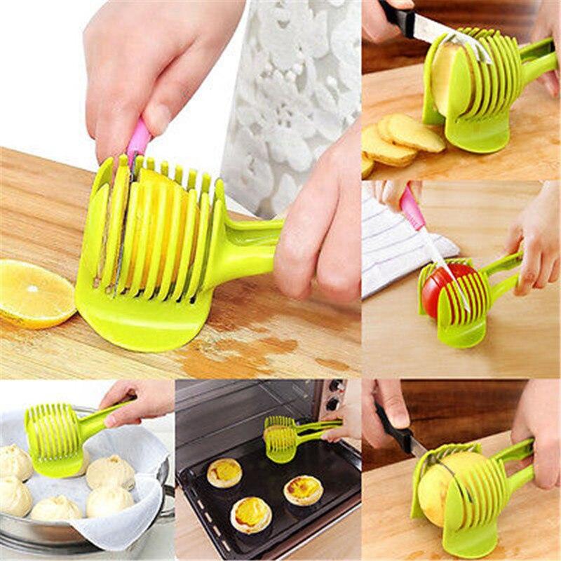Plastic Potato SlicerTomato Cutter Tool Handheld Lemon Cutting Shreadders Holder Vegetables Onion Fruit Cooking Kitchen Tools in Baking Pastry Spatulas from Home Garden