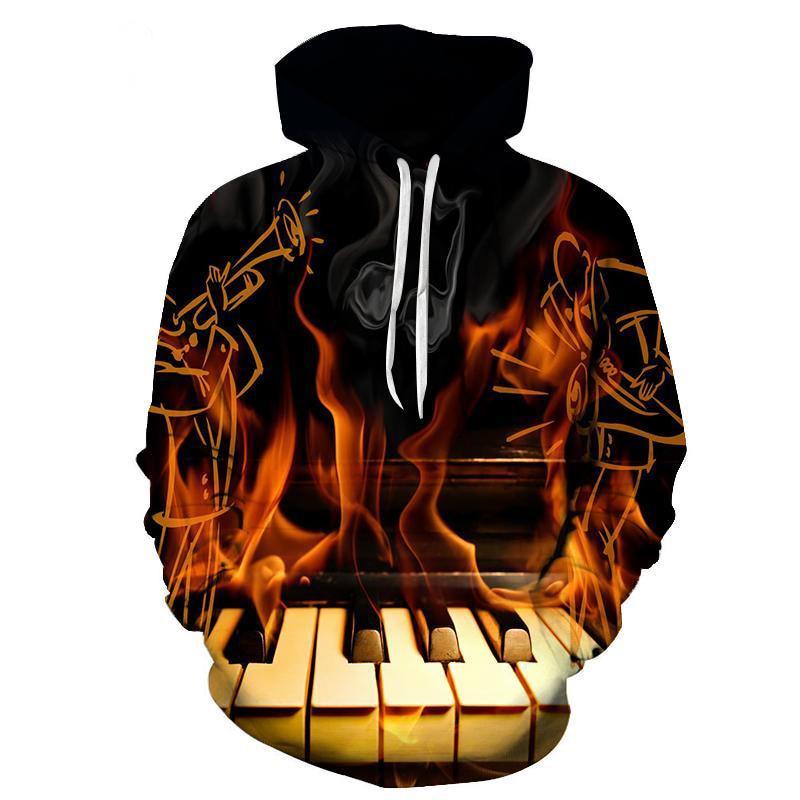 2017 new fashion Cool sweatshirt Hoodies Men women 3D print Burning piano Lover Tee hot Style Streetwear Long sleeve clothes