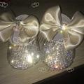 Bautizo Bling de zapatos de la muchacha de flor de Marfil de la boda 0-1 bebé de la princesa INS ETSY fashion proveedor caliente de encargo hecho a mano infantil zapatos
