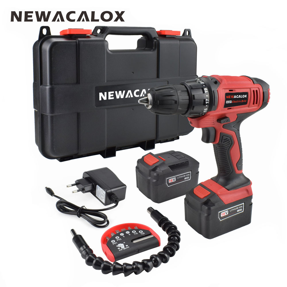 NEWACALOX EU Plug 16V Mini Cordless Drill Rechargeable Lithium Battery Electric Screwdriver Drill Power Tools with Plastic Case 2000mah rechargeable lithium battery pack for nds lite with screwdriver