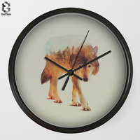 Modern Art Wall Clocks Forest Wolf For Bedroom Wall Decor, Desk Decorative Mute Quartz Clock Nordic Home Decoration