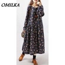 OMILKA Woman Dress Winter 2017 Floral Printed Long Maxi Dress Casual Loose Long Sleeve Mori Girl