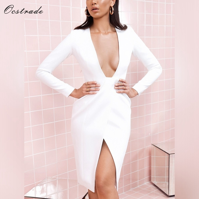 Ocstrade Women Bodycon Dress 2018 Spring New Arrival White Crepe Wrap Over  Plunge V-neck Sexy Party Dress Nightclub Dress 2096f478a8