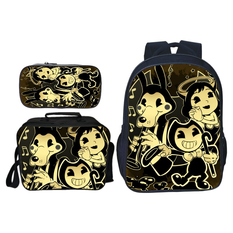 3Pcs/Set Hot Sale Cartoon Game Bendy And The Ink Kids Baby School Bags For Children Backpacks For Boys Schoolbag Student Bookbag(China)