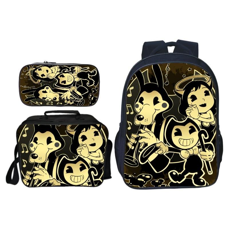 3 pièces/ensemble offre spéciale jeu de dessin animé Bendy et l'encre enfants bébé sacs d'école pour enfants sacs à dos pour garçons cartable étudiant Bookbag
