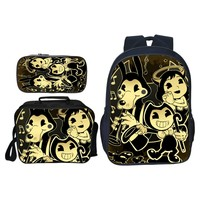3Pcs/Set Hot Sale Cartoon Game Bendy and The Ink Kids Baby School Bags for Children Backpacks for Boys Schoolbag Student Bookbag