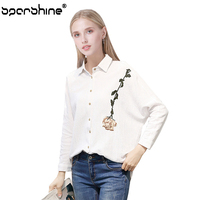 SPARSHINE Rose Embroidery White Blouse Women Shirt Long Sleeve Floral Blouses Office Shirts Female Blusas Mujer
