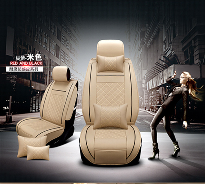 Deluxe PU Leather Car Seat Cover Cushion Beige Color Front Row 2 Seats High Quality Business Type in Automobiles Seat Covers from Automobiles Motorcycles