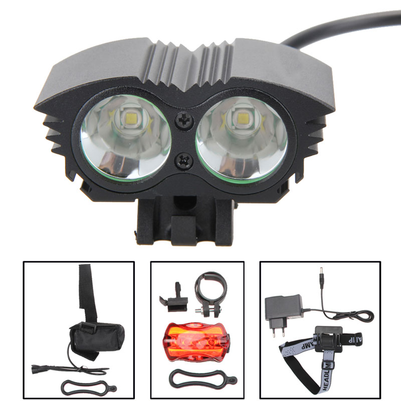цена на 6000LM 2x XML T6 LED Front Bicycle Light Flashlight Headlamp Taillight Headlight With Belt + Rear Light + 2 Rubber Ring