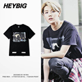 Retro European Tonal Printed T-shirts American Skateboard tops EXO member Hot Tee Off white Diagonals HEYBIG Men Shirts CN SIZE