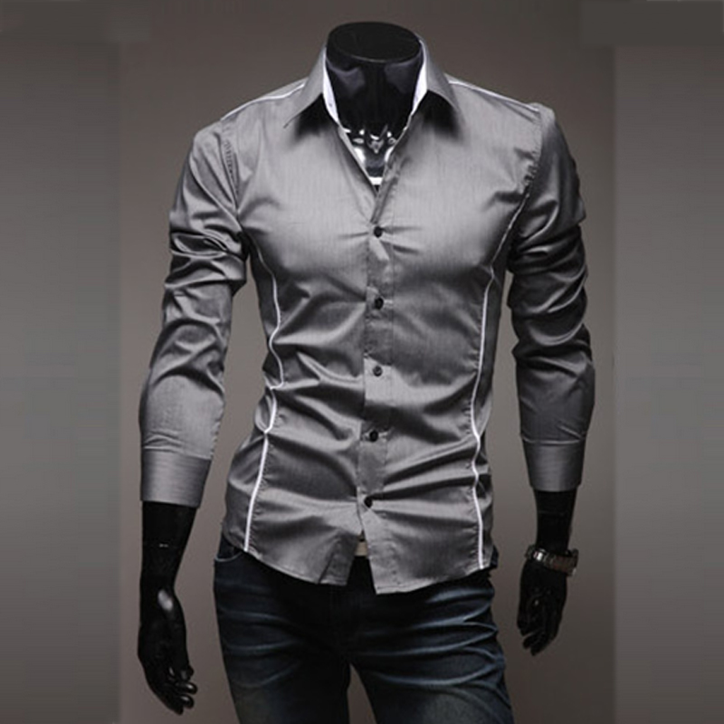 Camisa Shirts Chemise Social-Clothes Slim-Fit Long-Sleeve Male Striped Mens Plus-Size