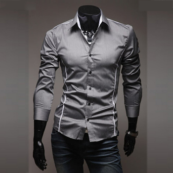 Mens Casual Shirts Slim Fit Long Sleeve Gray