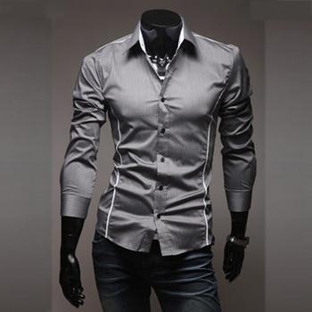 Мужская Повседневная рубашка, облегающая серая рубашка в полоску с длинным рукавом, женская рубашка большого размера, M-3XL, 50, 2018