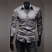 273f03efa3a 2018 New Mens Casual Shirts Slim Fit Long Sleeve Gray Male Striped Shirts  Camisa Social Clothes Chemise Homme Plus Size M-3XL 50