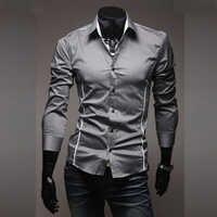2018 nuevas camisas informales para hombre ajustadas de manga larga camisas de rayas grises para hombre Camisa ropa Social Chemise Homme talla grande m-3XL 50