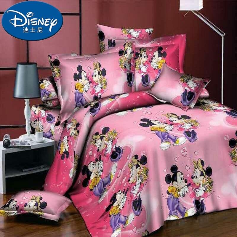 3D 4 pièces roi reine Mickey souris ensemble de literie dessin animé Mickey Minnie couette/housse de couette drap plat roi taies doreiller en lin maison