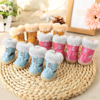 Dog Shoes Catoon PU Dog Warm Boots Chihuahua Winter Warm Dog Shoes Puppy Pet Shoes Clothing For Dogs Clothes 4 PIECES/SET