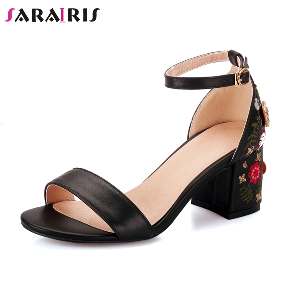 SARAIRIS 2019 genuine leather elegant flowers Embroidery shoes woman square high heels sandals shoes ankle strap